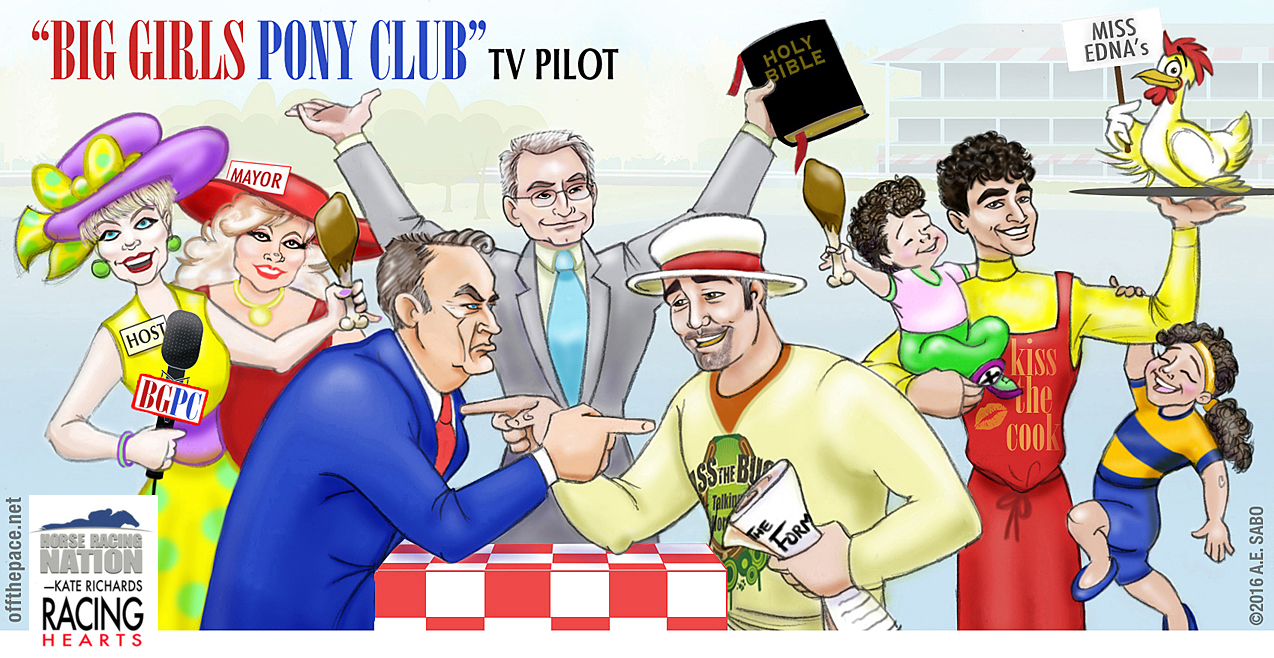 Click On Cartoon To Enlarge Drawn By OFF THE PACE Artist AE SABO Stars L R Turf Writer Kate Richards CD Mixologist Jo An McDowell